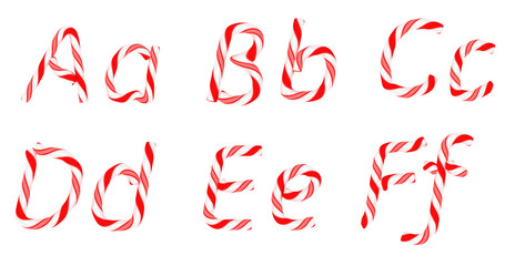 Candy cane font A - F letters isolated