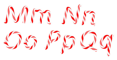 Candy cane font M - Q letters isolated