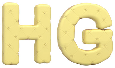 Luxury soft leather font H G letters