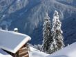 Brennholz bei der Hütte im Schnee