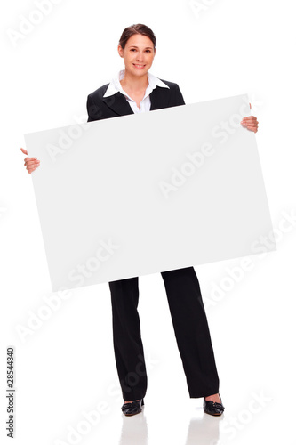 beautiful young business woman holding white board