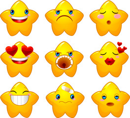 Set of smileys stars