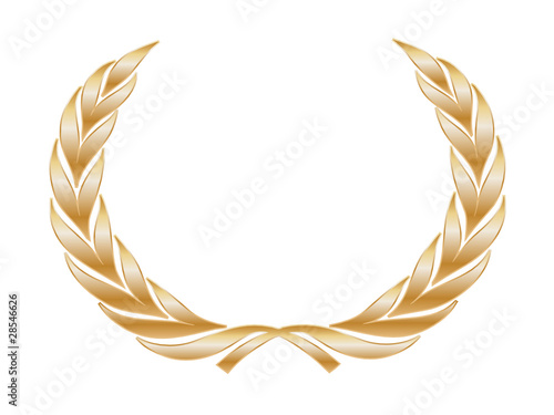 Golden Laurel Wreath (award trophy winner gold medal cup vector)