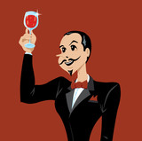 Man or waiter appreciating wine