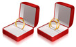 Two jewelry boxes with heart ring and two wedding rings