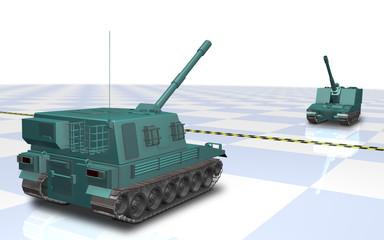 Self-propelled artillery across the border