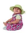 Toddler baby girl in pretty flowery summer dress