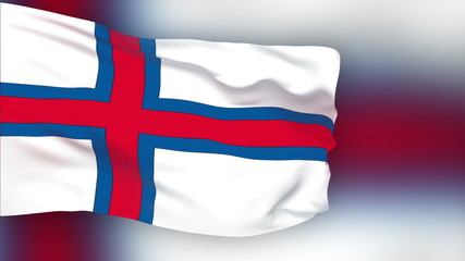 Faroe Islands flag slowly waving. Blurred background.