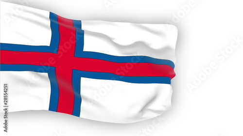 Faroe Islands flag slowly waving. White background.