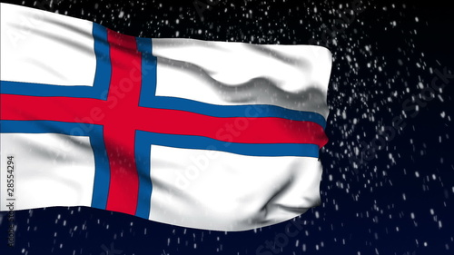 Faroe Islands flag waving. White snow background. Seamless loop.