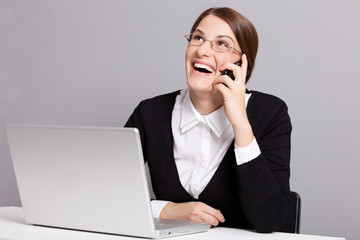 Laughing business lady