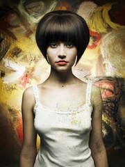 Beautiful girl painter