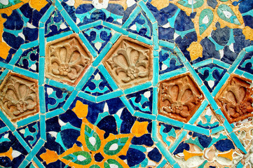 Fragment of tiled wall with Arabic mosaic, Tbilisi, Georgia