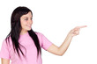 Brunette girl pointing