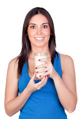 Beautiful girl drinking milk