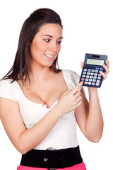 Attractive secretary with calculator