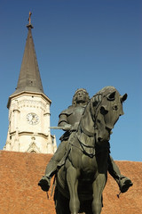 Statue of King Mathias in the center of Cluj Napoca, Romania