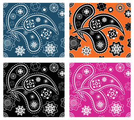 Collection of four retro seamless indian paisley vector patterns