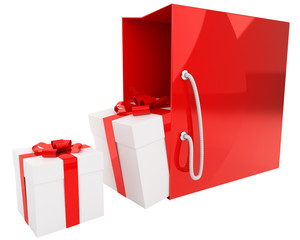 bright red bag and gift boxes isolated on white