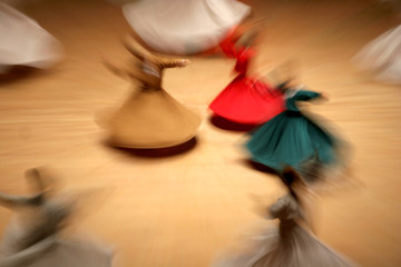 Mevlana dervishes dancing in the museum