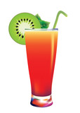 cocktail isolated illustration tequila sunrise with kiwi