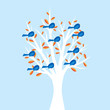 Birds in tree illustration