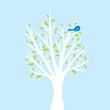 Bird in tree illustration