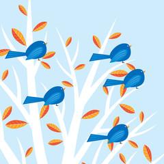 Birds sitting in tree