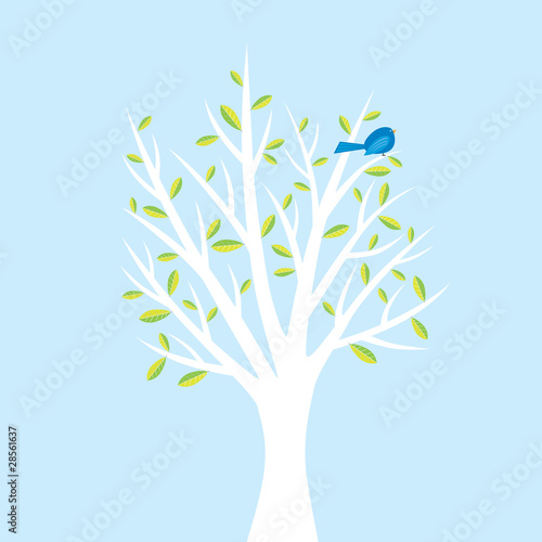 Bird in tree illustration