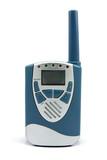 Portable  walkie talkie radio on white background poster