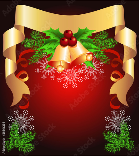 Christmas background with golden ribbon