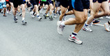 Marathon runners, people running in city race