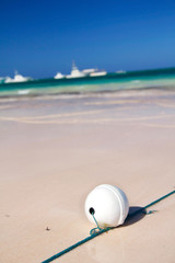 White buoy on caribbean sea