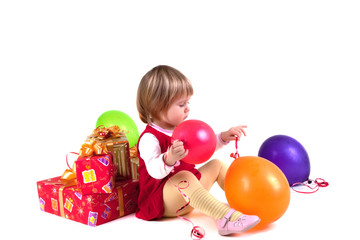 Girl with balloons and presents