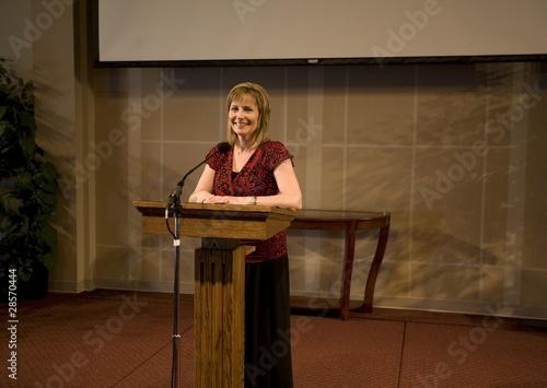 A Woman Giving A Speech