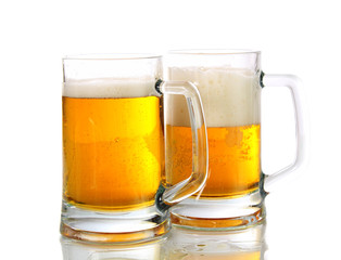 Two glasses about beer, isolated.