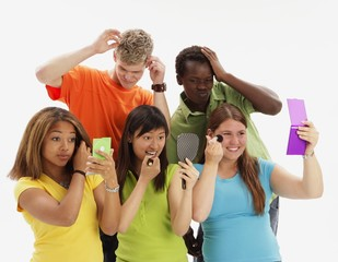Group Of Teenagers Primping
