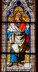 The Prophet Jeremiah, church window in Dom of Cologne
