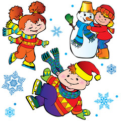 Ice-skating children. Happy childhood. Vector art-illustration.