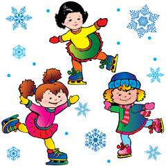 Ice-skating. Happy childhood. Vector art-illustration.