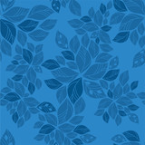 Seamless blue leaves pattern
