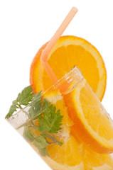 Refreshing drink with orange slice