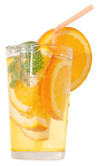 Refreshing drink with orange slice