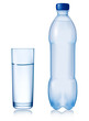 Water bottle and glass. Vector illustration.