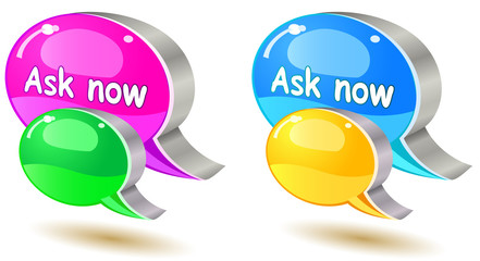colorful ask bubble chat icon set isolated on white