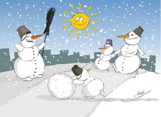 snowman, snow, mountain, sun, celebrations, cartoon