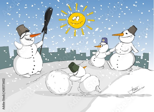 snowman, snow, mountain, sun, celebrations, cartoon