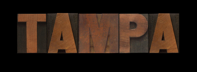 the word Tampa in old letterpress wood type