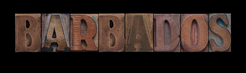 the word Barbados in old letterpress wood type