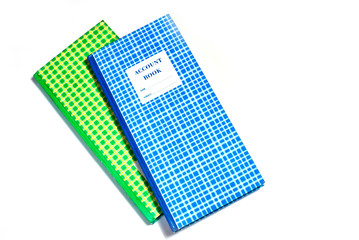 blue and green plaid account book